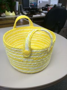 Yellow flannel clothesline basket