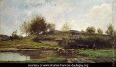 The Lock at Optevoz, 1855 - Charles-Francois Daubigny - www.charles-francois-daubigny.org