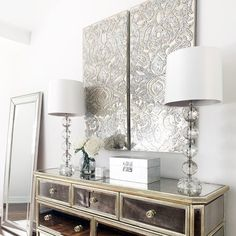 Z Gallerie Glam Console Sideboard, Glamorous Home, Mirrored Furniture, Living Room, Pier 1 Mirrored Panels Entryway Wall Decor, Room Wall Decor, Diy Wall Decor, Home Decor, Glam Living Room, Glam Bedroom, Living Room Decor, Master Bedroom, Bedroom Decor