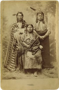 """Native American:Photography, Cabinet Card - A studio portrait of two Mandan warriors and awoman, """"Bismarck Mary"""". Circa Length 6 in. Native American Images, American Indian Art, Native American Tribes, Native American History, Native Americans, American Mary, American Symbols, American Women, Sioux"""