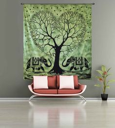 Shop online king size (90x100) elephant with tree green color indian tapestry wall hangings wall art decor. Free Shipping