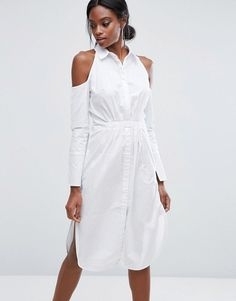 ed75e862a95 Shop Lavish Alice Cotton Shirt Dress With Cold Shoulder at ASOS.