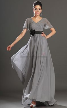 889db95e0d16d Wholesale Shining Style Sheath Short Sleeve Party Dress With Beads Long  Chiffon Evening Dress Fashion Grey Mother Of The Bride Dress V neck