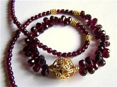 Faceted Garnet necklace in Gold Vermeil by PinkOwlJewelry