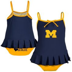 Michigan Wolverines Toddler Girls Cheerleader in Training Bathing Suit - Navy Blue