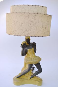 Vintage Mid Century Modern Lighting Table Lamp of Yellow Ballet Dancers by Stean Ind. dated 1951