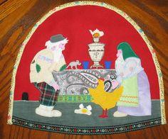 Грелки на чайник в русском стиле. Rukodelieru.ru - это предметы домашнего декора с аппликацией по ткани.