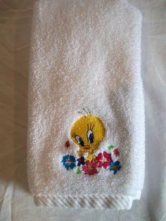 Tweety Bird in Flowers Towel by LuvtoCustom on Etsy, $6.00