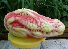 Carved Out Of A Watermelon. (And clearly the only watermelon that takes a bite out of You!)