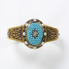 England, c. 1862 Bracelet, gold, enamel, rose- and brilliant-cut diamonds, pavé-set turquoises, half-pearls V&A Museum