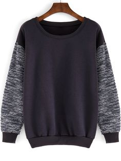 Round+Neck+Contrast+Sleeve+Loose+Grey+Sweatshirt+12.00