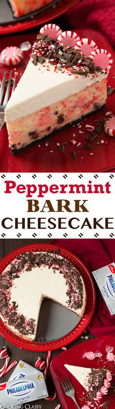 31 Delicious Things To Cook In December/Holiday recipes Christmas Peppermint Bark Cheesecake - this is a Christmas MUST! It is perfectly pepperminty and lusciously rich and creamy! The perfect blend of peppermint bark flavors with cheesecake. Christmas Deserts, Holiday Desserts, Holiday Baking, Christmas Treats, Just Desserts, Holiday Recipes, Christmas Bark, Thanksgiving Treats, Christmas Drinks