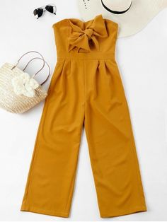 Happy Zaful 4th Anniversary! Explore Zaful's 4-year anniversary celebration, lots of deals, promotions on June 18th 2018. Inspire, Involve, Enjoy!  Bowknot Tube High Waisted Jumpsuit.  #Zaful #Zaful4th #Jumpsuit