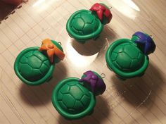Polymer Clay Ninja Turtles before baking- back view