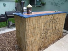 Tiki bar created with imagination from a contractors table.