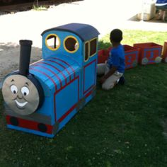 Thomas the Train made out of Cardboard Boxes. It was a total hit with the kids.