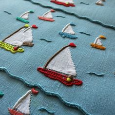 """""""Gay Harbor"""" - Marghab's cheerful sailing pattern. Perfect vintage cocktail napkins for parties on the water. Hand embroidered in Madeira, every stitch perfect. #vintagecocktailnapkins  #marghab #vintagemadeiraembroidery #vintagetextiles #vintagehandembroidery #handembroidery #madeiraembroidery  #cocktailhour #vintagestyle #cocktail #cocktailparty #sailing #yacht #thegoodlife"""