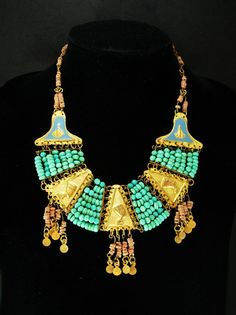 Vintage Egyptian revival necklace Turquoise by vintagesparkles