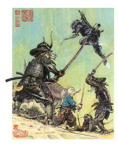 Usagi Yojimbo battle - Tribute to the great Stan Sakai. - by JungGi Kim Geeks, Illustrations, Illustration Art, Character Illustration, Akira, Junggi Kim, Art Sketches, Art Drawings, Usagi Yojimbo