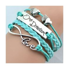 One Direction Double Heart Leather Bracelet With Special 1D Gift Box ($6.99) ❤ liked on Polyvore featuring jewelry, bracelets, leather jewelry, leather bangle, heart jewellery, heart jewelry and heart bangle