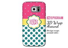 Monogram Samsung Galaxy S6 Edge case teal and hot by EpigramCases