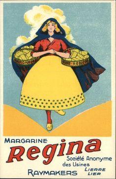 Margarine Regina Butler Advertisement Art Deco c1910 Postcard