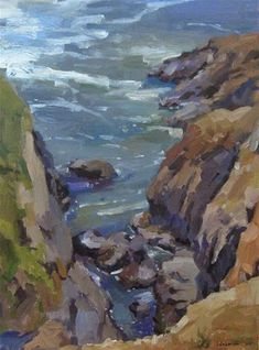 """Daily Paintworks - """"Sea Chasm"""" - Original Fine Art for Sale - © Sarah Sedwick Beautiful Landscape Paintings, Seascape Paintings, Landscape Art, Animation, Plein Air, Pictures To Paint, Ocean Beach, Fine Art Gallery, Online Art"""