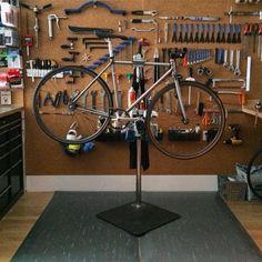 Workspace at Mash SF. Bike repair stand.
