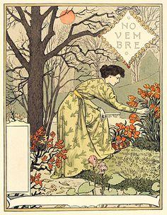 As the year wanes, Grasset subdues his colors. November/ Novembre wood engraving.