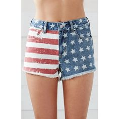 Bullhead Denim Co. American Flag High Rise Cutoff Denim Shorts ($40) ❤ liked on Polyvore featuring shorts, high rise jean shorts, cut off shorts, cotton shorts, cut-off shorts and high waisted shorts