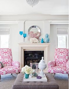 love the pink, white and turquoise together