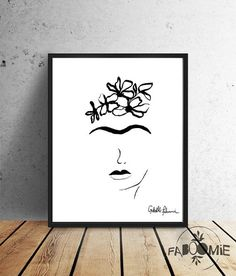 Frida Kahlo  INSTANT DOWNLOAD  black and white por Faboomie en Etsy