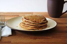the vegan chickpea: Healthy Maple Peanut Butter Pancakes