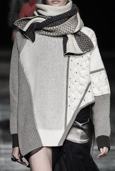 Monochrome colourblock and texture combinations, Prabal Gurung Knitwear Fashion, Knit Fashion, High Fashion, Couture Fashion, Runway Fashion, Womens Fashion, Fashion Trends, Fashion Details, Fashion Design
