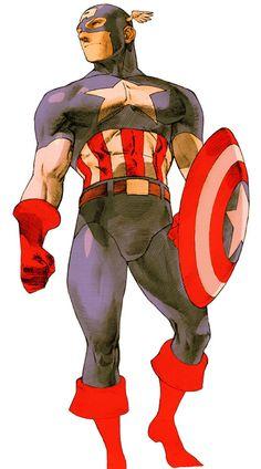 Captain America (marvel vs. capcom) ✤ || CHARACTER DESIGN REFERENCES | キャラクターデザイン | çizgi film • Find more at https://www.facebook.com/CharacterDesignReferences & http://www.pinterest.com/characterdesigh if you're looking for: bande dessinée, dessin animé #animation #banda #desenhada #toons #manga #BD #historieta #sketch #how #to #draw #strip #fumetto #settei #fumetti #manhwa #cartoni #animati #comics #cartoon || ✤