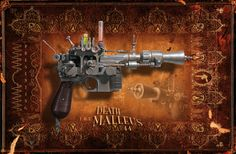My STAR WARS steampunk weaponry - The Death Malleus Grotesque Re-atomizer (right) Translation - The Death Hammer. - actual handmade model against a digital background. Apartment Chic, Dieselpunk, Hand Guns, Steampunk, Death, Star Wars, Digital, Random, Model