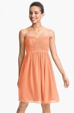 Super sweet! | Pleated sweetheart chiffon dress by Donna Morgan.