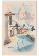 Non Viaggiata S.BONELLI cartolina d'epoca di Buon Anno paese montano con la neve