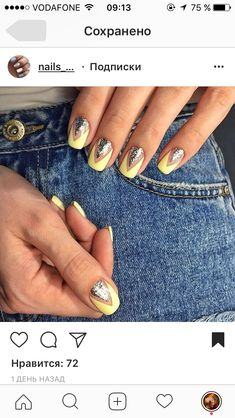 Ideas for nails design cool nailart Nails Inc, Shellac Nails, Matte Nails, Diy Nails, Love Nails, Pretty Nails, Wedding Acrylic Nails, Dipped Nails, Yellow Nails