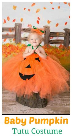 Pumpkin Tutu Costume with hairbow for babies on Halloween   #affiliate link