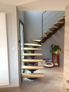 Metal Stairs, Modern Stairs, New Staircase, Staircase Design, Loft Conversion Stairs, Home Office Design, House Design, Mini Loft, Cabin House Plans