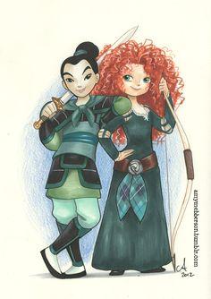 Deux rebelles - Mulan  Merida