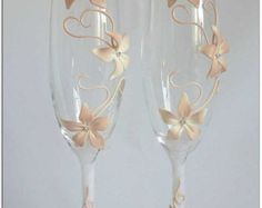 Wedding glasses champagne flutes LACE wedding bride by LuxeFlowerl