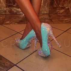 These beautiful #Tiffany's #inspired #heels are #crystalized by #Crystal4U.co