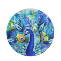 Peacock in Full Bloom Dinner Plate for a #peacock #wedding #theme http://www.zazzle.com/peacock_in_full_bloom_dinner_plate-115036926032860815?rf=238505586582342524