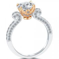 2.53 Carat G-VS2 Natural Round Diamond Engagement Ring 18k Rose Gold White Gold - Vintage Style Engagement Rings