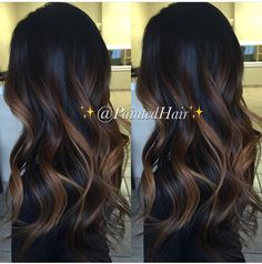 Balayage is suitable for light and dark hair, almost all lengths except very short haircuts. Today I want to show you the most popular Brunette Balayage Hair Color Ideas. Balayage has become the biggest trend in recent seasons, and it's not over yet. Hair Color And Cut, Ombre Hair Color, Black To Brown Ombre Hair, Hair Color For Dark Skin, Hair Highlights, Caramel Balayage Highlights, Auburn Balayage, Bayalage Caramel, Caramel Balayage Brunette
