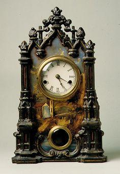 Clock Hourglass Time: Mid-Atlantic cast-iron mantel #clock, 1849.