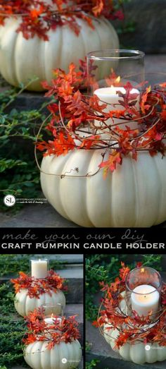 Fabulous Fall & Thanksgiving Decoration Ideas - For Creative Juice - Craft Pumpkin Candle Holders. These craft pumpkin candle holders are incredibly easy to put togethe - Autumn Decorating, Pumpkin Decorating, Decorating Tips, Pumpkin Candles, Pumpkin Pumpkin, Pumpkin House, Pumpkin Lights, Decoration Christmas, Christmas Crafts