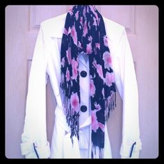 ✨STYLE & CO raincoat ✨SALE✨ White Style & Co. trench raincoat from Macy's with black buttons.  Washable.  There is a very faint yellowing around the inside of the collar (almost unnoticeable), otherwise in great condition!  Black INC scarf shown in picture is included for free ($25 value:)! Style & Co Jackets & Coats
